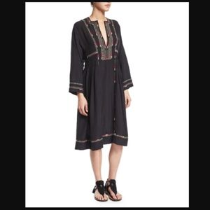 Isabel Marant Natsi Black Embroidered Tunic Dress
